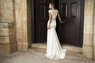 Suzanne Neville at cheltenham wedding dress shop, Sarah Elizabeth Bridal